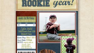 Rookie Of the Year Birthday Invitations Rookie Year Baseball Birthday Invitation by Fourleafprints