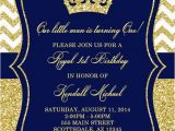 Royal Birthday Invitation Card Prince Birthday Party Invitation Royal Blue Gold Glitter