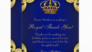 Royal Birthday Invitation Card Prince Birthday Party Thank You Cards Zazzle Com