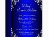 Royal Birthday Invitation Card Royal Blue Sweet 16 Silver Pearl Damask Card Zazzle Com