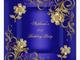 Royal Blue and Gold Birthday Invitations 21st Birthday Party Royal Blue Gold Diamond Card Zazzle