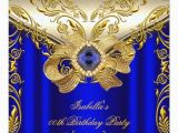 Royal Blue and Gold Birthday Invitations Elegant Elite Royal Blue Gold Birthday Party 2 Invite Zazzle