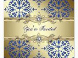 Royal Blue and Gold Birthday Invitations Royal Blue and Gold Damask Party Invitations 5 25 Quot Square