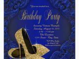 Royal Blue and Gold Birthday Invitations Royal Blue and Gold High Heels Birthday Party Invitation