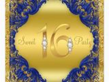 Royal Blue and Gold Birthday Invitations Royal Blue Gold Swirl Sweet 16 Party Invitation Zazzle