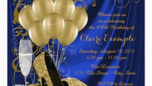 Royal Blue and Gold Birthday Invitations Womans Royal Blue and Gold Birthday Party Luxe Invitation