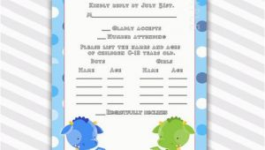 Rsvp Cards for Birthday Party Birthday Rsvp Cards Notes Polka Dots Green Blue Dragon Baby