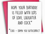 Rude Birthday Cards for Her Funny Birthday Card Rude Birthday Card Autocorrect