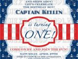 Sailor Birthday Invitations Nautical First Birthday Invitation