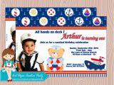 Sailor Birthday Invitations Personalized Nautical Teddy Birthday Invitation 5×7 Set