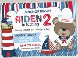 Sailor Birthday Invitations Sailor Bear Birthday Party Invitation Nautical Birthday