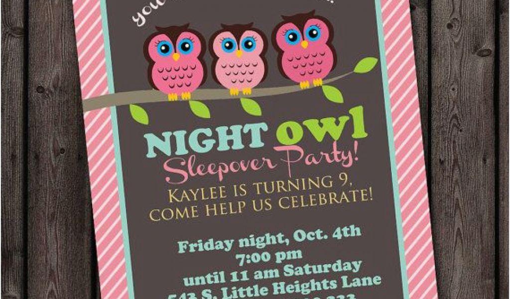 Same Day Birthday Invitations Customized Sleep Over