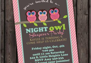 Same Day Birthday Invitations Customized Sleep Over Invitation Owl