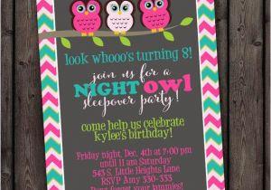 Same Day Birthday Invitations Customized Sleep Over Invitation Owl