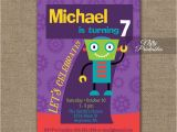 Sample 7th Birthday Invitation for Boy 7th Birthday Invitation Boys Robot Invitation Nifty