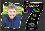 Sample 7th Birthday Invitation for Boy 7th Birthday Invitation Chalkboard Invite Rainbow Colors