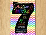 Sample 7th Birthday Invitation for Boy 7th Birthday Invitation Rainbow Chevron Pastel Seventh