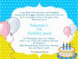 Sample 7th Birthday Invitation for Boy Birthday Card Sample Hunecompany Com