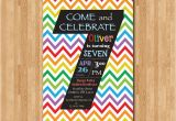 Sample 7th Birthday Invitation for Boy Rainbow 7th Birthday Invitation Colorful Chevron Birthday