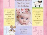 Sample First Birthday Invitation Wording 1st Birthday and Christening Baptism Invitation Sample