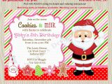 Santa Birthday Party Invitations Cookies with Santa Invitations Milk and Cookies Birthday Party