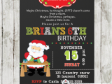 Santa Birthday Party Invitations Santa Birthday Party Invitation Chalkboard Personalized