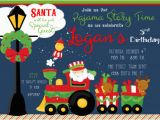 Santa Birthday Party Invitations Santa Claus On Train Holiday Christmas Birthday Party