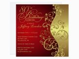 Save the Date 80th Birthday Invitations Red Gold 80th Birthday Party Invitation Zazzle