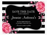 Save the Date Cards for Birthday Floral Black White Striped Birthday Save the Date Postcard