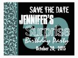 Save the Date Cards for Surprise Birthday Party 30th Surprise Birthday Teal Swirls Save the Date Postcard