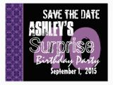 Save the Date Cards for Surprise Birthday Party 40th Surprise Birthday Save the Date Purple Black