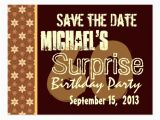 Save the Date Cards for Surprise Birthday Party 60th Surprise Birthday Save the Date Gold Postcard Zazzle