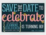 Save the Date Cards for Surprise Birthday Party Custom Birthday Save the Date 4×6 Downloadable Flowery Save