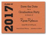 Save the Date Invitation Wording for Birthday Party Shimmery orange Graduation Save the Date Cards