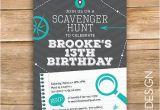 Scavenger Hunt Birthday Party Invitations Scavenger Hunt Birthday Party Invite Scavenger Invitation