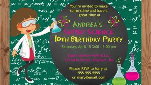 Science themed Birthday Party Invitations Science theme Birthday Party Invitations Girl Crafty