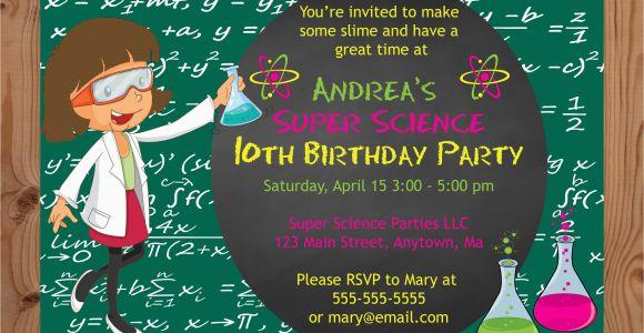 Science themed Birthday Party Invitations Science theme Birthday Party Invitations Girl Crafty