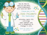 Scientist Birthday Card Mad Scientist Party Invitation