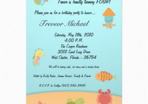 Sea Life Birthday Party Invitations 5×7 Sea Life Ocean Fish Birthday Party Invitation 5 Quot X 7