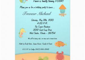 Sea Life Birthday Party Invitations 5×7 Sea Life Ocean Fish Birthday Party Invitation 5 Quot X 7