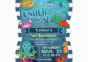 Sea Life Birthday Party Invitations Colorful Kid 39 S Sea Life Birthday Party Invitation Zazzle