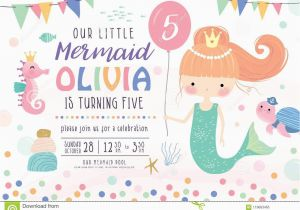 Sea Life Birthday Party Invitations Kids Birthday Party Invitation Card Stock Vector