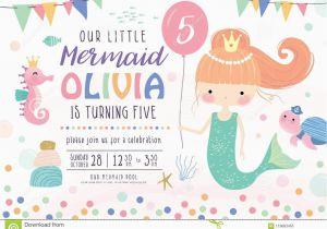 Sea Life Birthday Party Invitations Kids Birthday Party Invitation Card Stock Vector