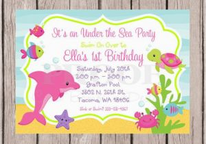 Sea Life Birthday Party Invitations Printable Under the Sea Birthday Party Invitation Girls