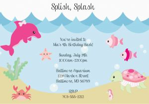 Sea Life Birthday Party Invitations Under the Sea Birthday Invitations Wording Free