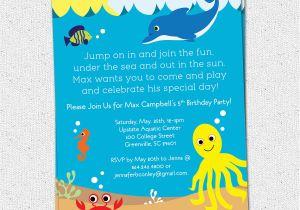 Sea Life Birthday Party Invitations Under the Sea Birthday Party Invitations Boy or Girl Sea