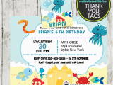 Sea Life Birthday Party Invitations Under the Sea Mermaid Birthday Invitation Personalized