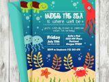 Sea themed Birthday Invitations Under the Sea Birthday Invitation Turtle Octopus Crab
