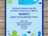 Sea themed Birthday Invitations Under the Sea Party Invitations Birthday Party