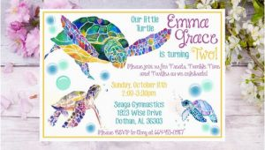 Sea Turtle Birthday Invitations Sea Turtle Birthday Invitation Watercolor Sea Turtle Birthday
